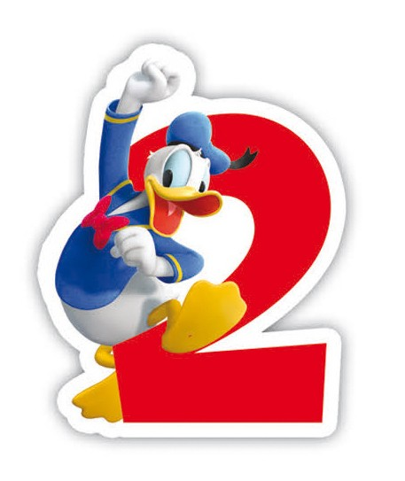 Lumanare cifra 2 Mickey Mouse/ Donald