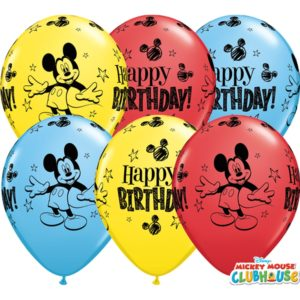 set 25 baloane latex mickey happy birthaday-28cm